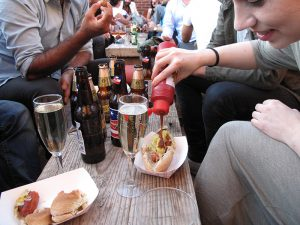 Rooftop Happy Hour @ The Jane Hotel - adding condiments