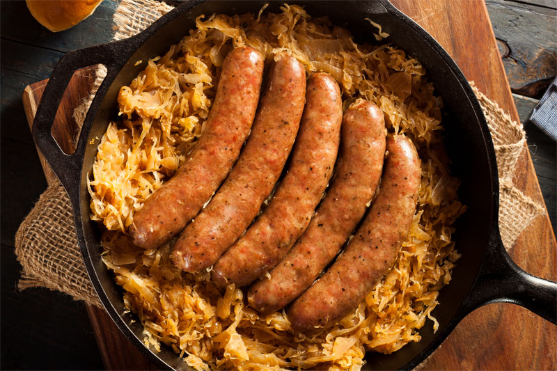 Bratwurst with Apples & Onions recipe